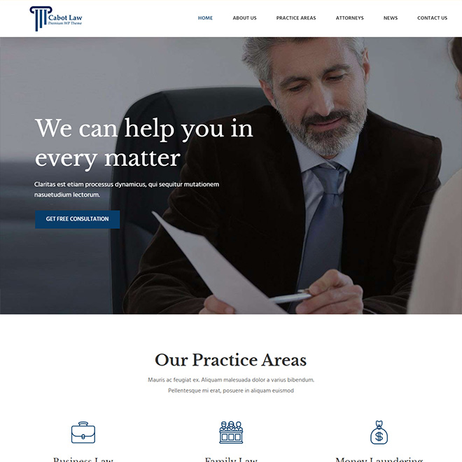 Cabot Law - Lawyer, Attorney, Law Firm WordPress Theme